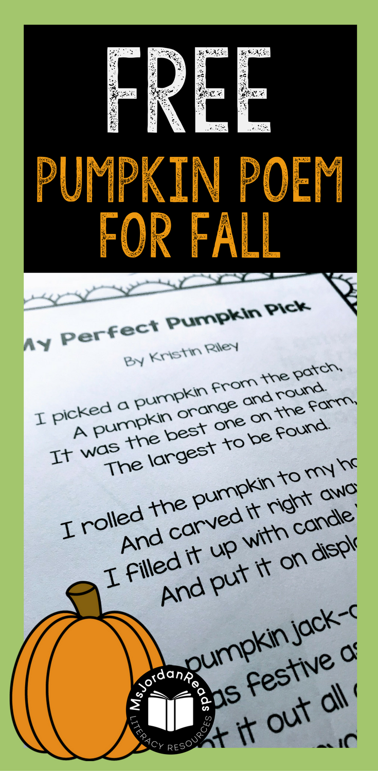 Pumpkin Poem & Comprehension Activity Packet |  Bring some fluency fun into the classroom for the fall season. This resource includes two versions of a pumpkin poem for differentiation, sequencing cards, and 4 comprehension activities.   #fluency #fallpoetry #poetryactivities #msjordanreads #pumpkinactivities #pumpkinliteracy #literacy #tpt