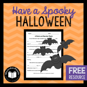 FREE Halloween Fill-in-the-Blank Story Writing Activity | Students will have fun writing silly stories using this fun fill-in-the-blank format. Great for parts of speech review!