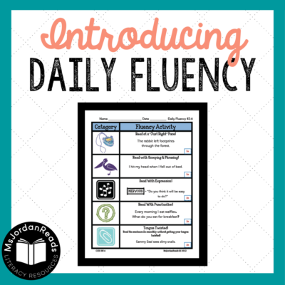 Daily Fluency Activity Packets | Perfect for fluency centers, fluency stations, small group interventions, warm-up activities, and so much more! Each activity page includes tasks for students to practice the different components of fluency. (Sample pages included in this post)