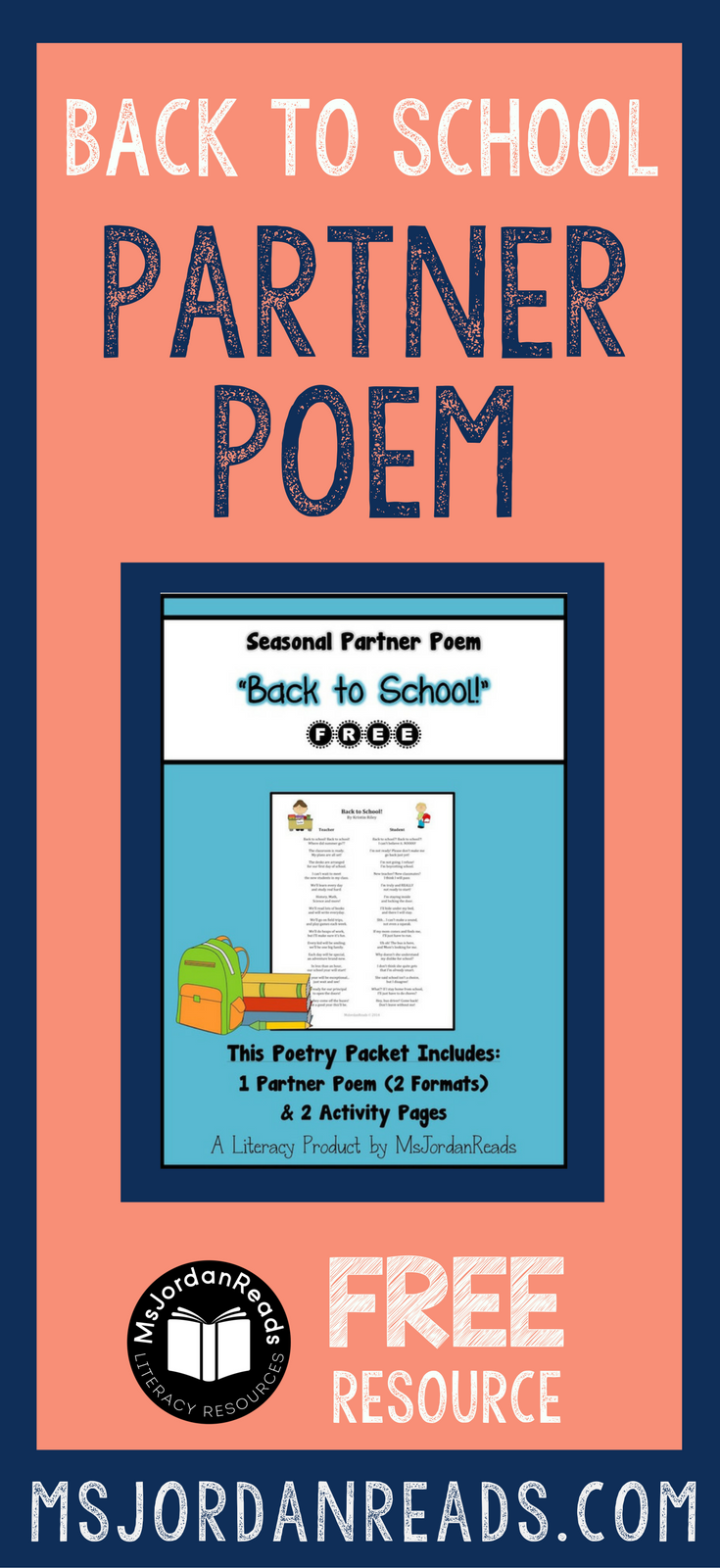 FREE Back to School Partner Poem for fluency! | Interactive, back-and-forth style poem for building fluency and bringing back to school poetry fun into your classroom. This poem for two voices is readers theater style and perfect for practicing expression.