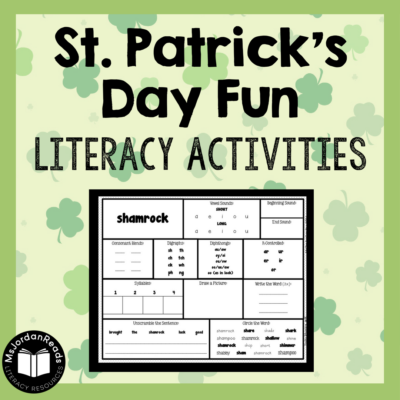 Literacy resources for St. Patrick's Day fun. Check out the blog post for phonics, poetry, and language activities to promote literacy skills.