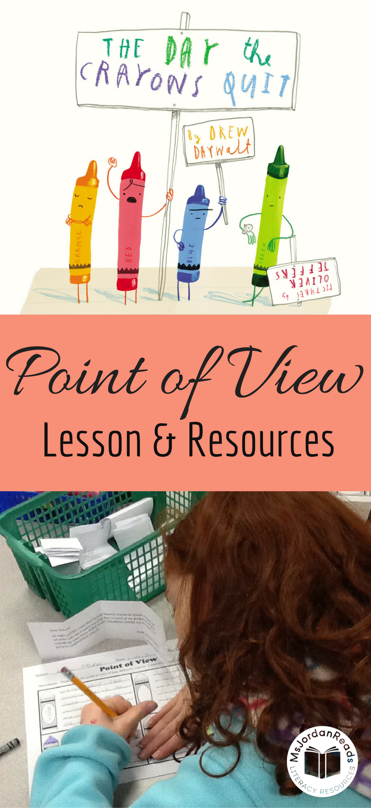 Point of View Lesson & Resources | A blog post for introducing students to point of view and character perspective using the wonderful mentor text: The Day the Crayons Quit | Includes free printable graphic organizer!