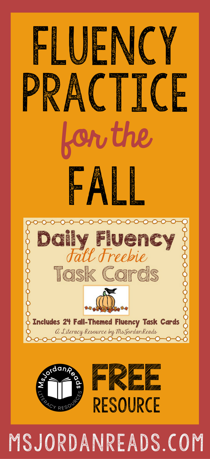 Fall Fluency Task Cards that you can download for your classroom FREE! | Free printable task cards for fluency practice at school or at home. Students will enjoy the variety of fluency tasks!