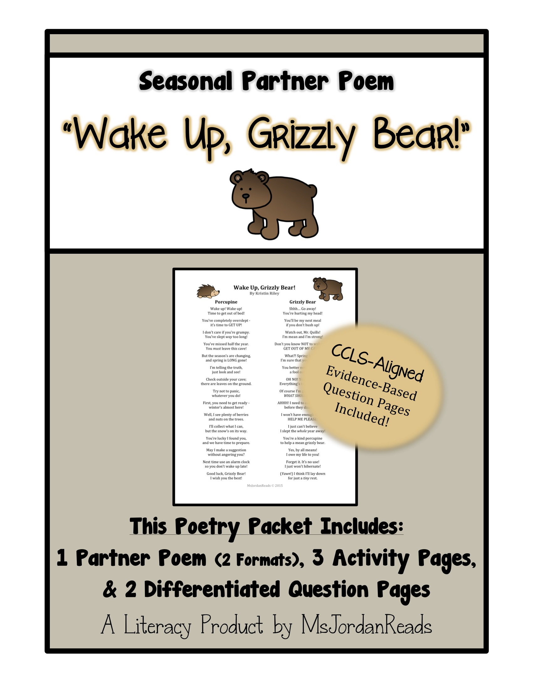 """Wake Up, Grizzy Bear!"" Partner Poem by @MsJordanReads"