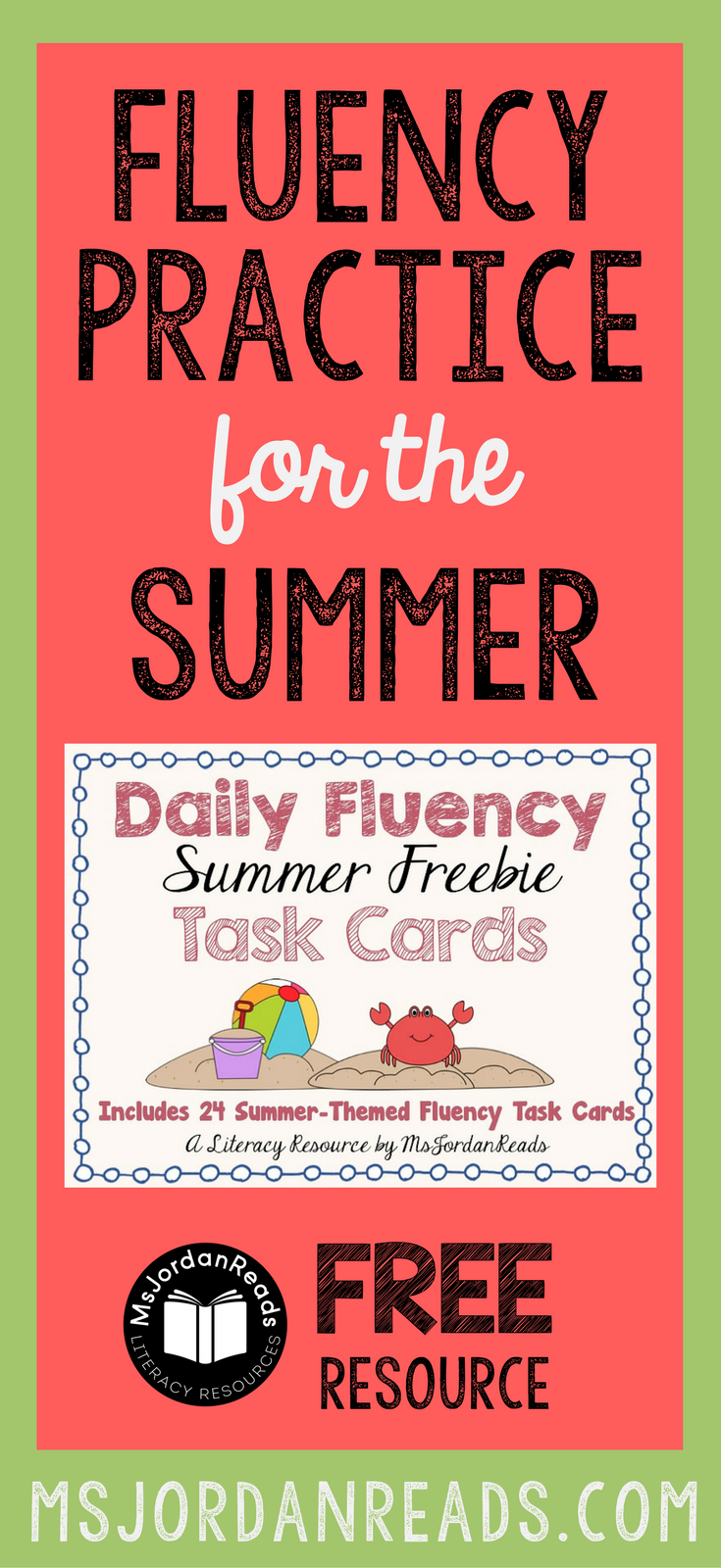 "Fluency Task Cards for the Summer that you can download for FREE! | Blog post includes other summer fluency ideas to help students practice fluency and avoid the typical ""summer slide"" reading regression."