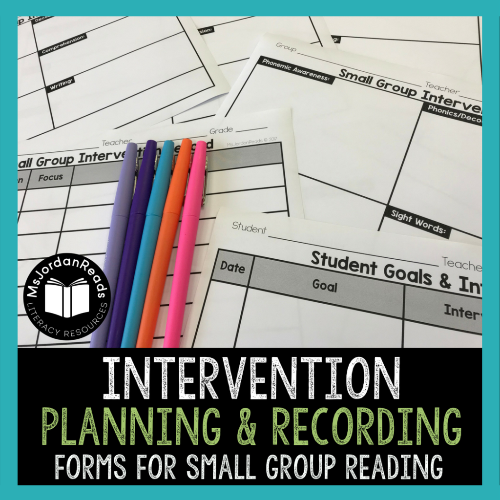 Intervention Planning and Recording Forms for Small Group Reading