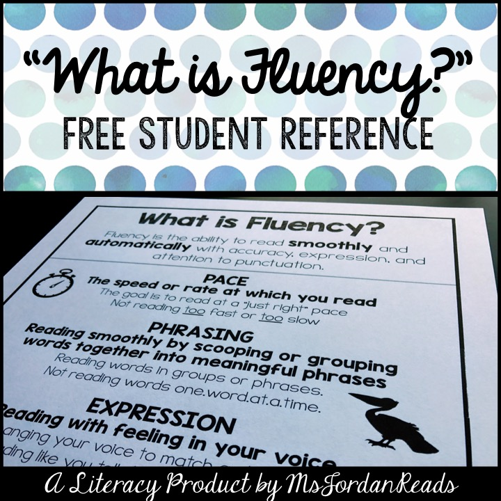 """What is Fluency?"" - FREE Student Reference Sheet"