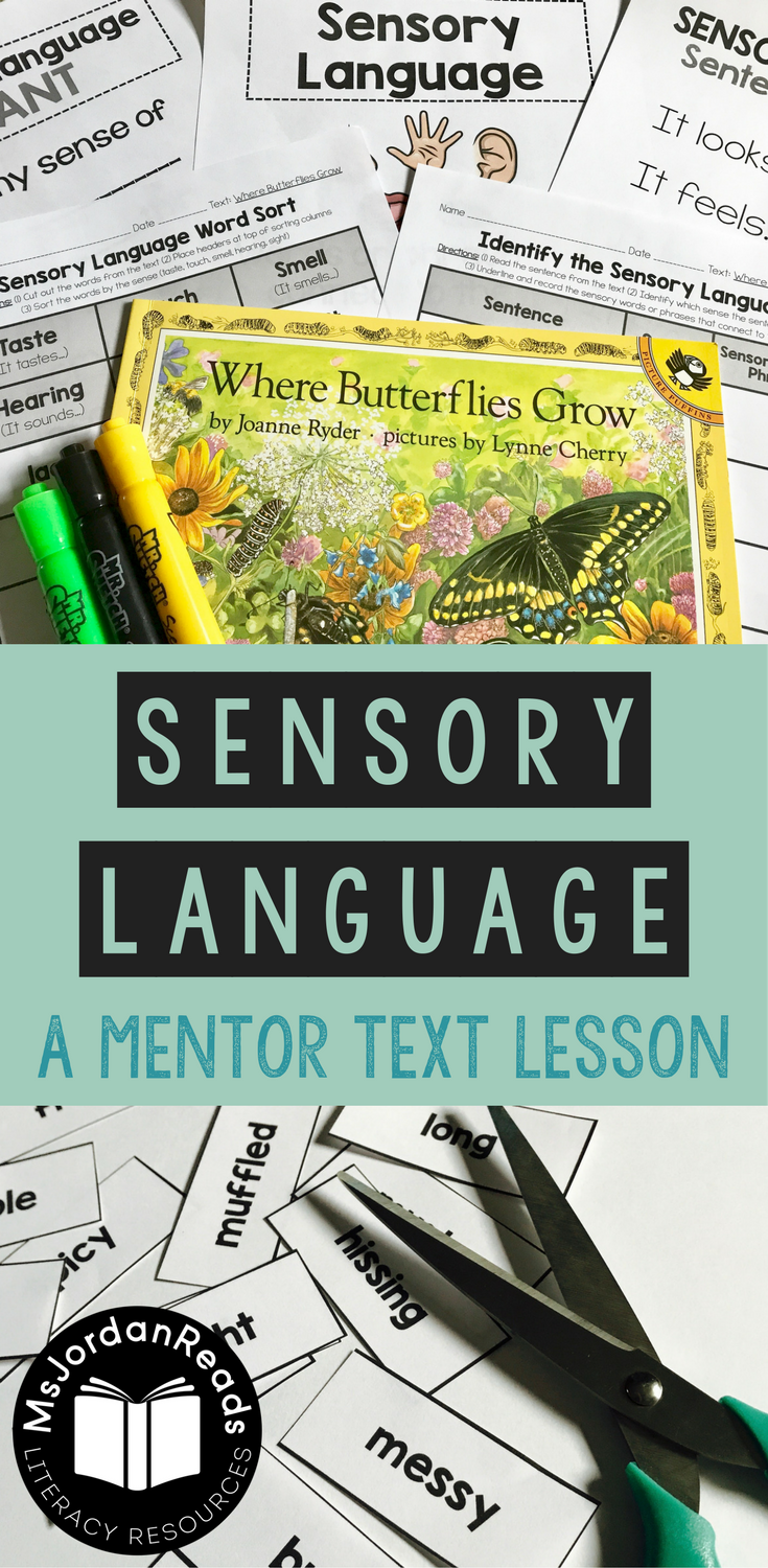 Teaching Sensory Language with Mentor Texts -- Where Butterflies Grow | A mentor text lesson with sensory language activities, anchor charts, guiding questions, and free printables for your literacy lesson