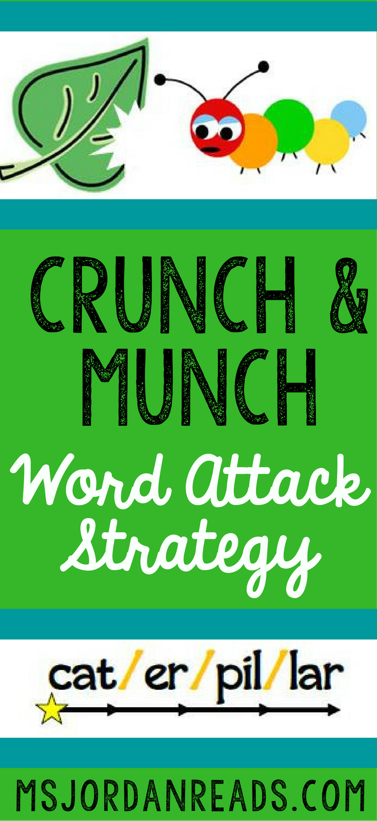 Crunch and Munch Words! | A word attack strategy for breaking apart words and decoding multi-syllable words. Includes reading strategy lesson ideas, graphic organizer, and free printables for the Crunch and Munch strategy.