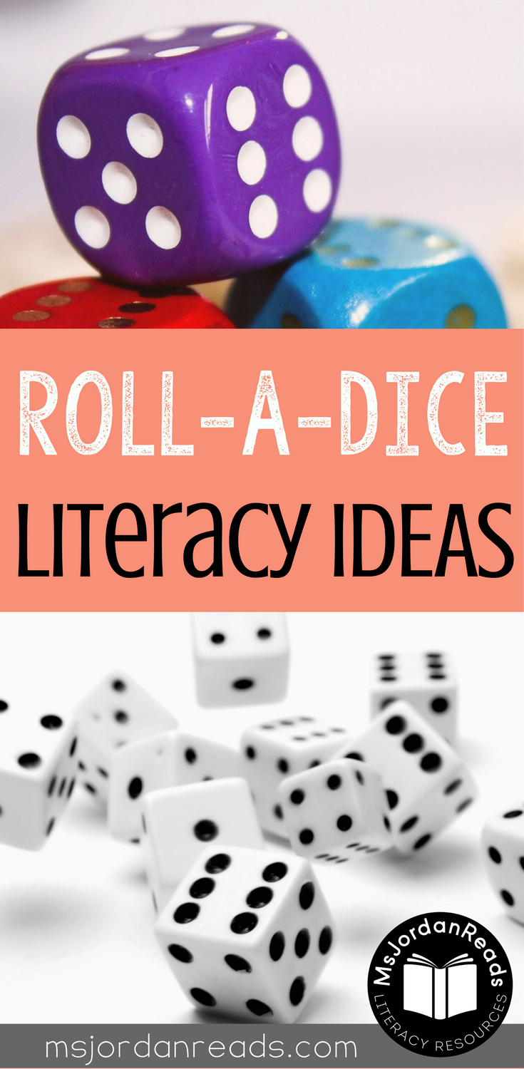 Roll a Dice Literacy Fun | This blog post includes ideas, activities, and free printables for using dice in the classroom.