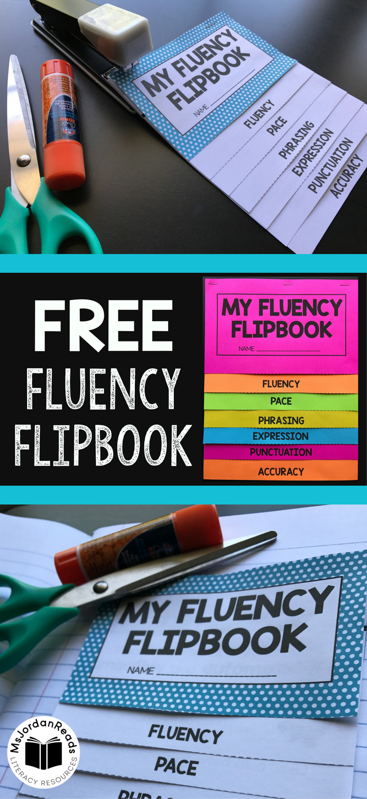 Fluency Flipbook for introducing and reviewing fluency in the classroom. Use it for small group instruction, fluency stations, literacy centers, interactive notebooks, reading notebooks, or to send home with students! | Sign Up for MsJordanReads Newsletter for your FREE Fluency Flipbook!