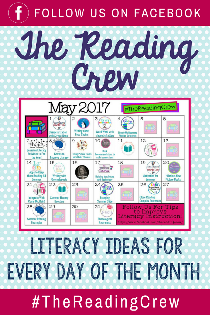 Literacy Ideas for Every Day of the Month | Check out the calendar of blog posts presented by The Reading Crew. Clickable links will be added throughout the month. (Follow us on Facebook for ideas and upcoming events!)