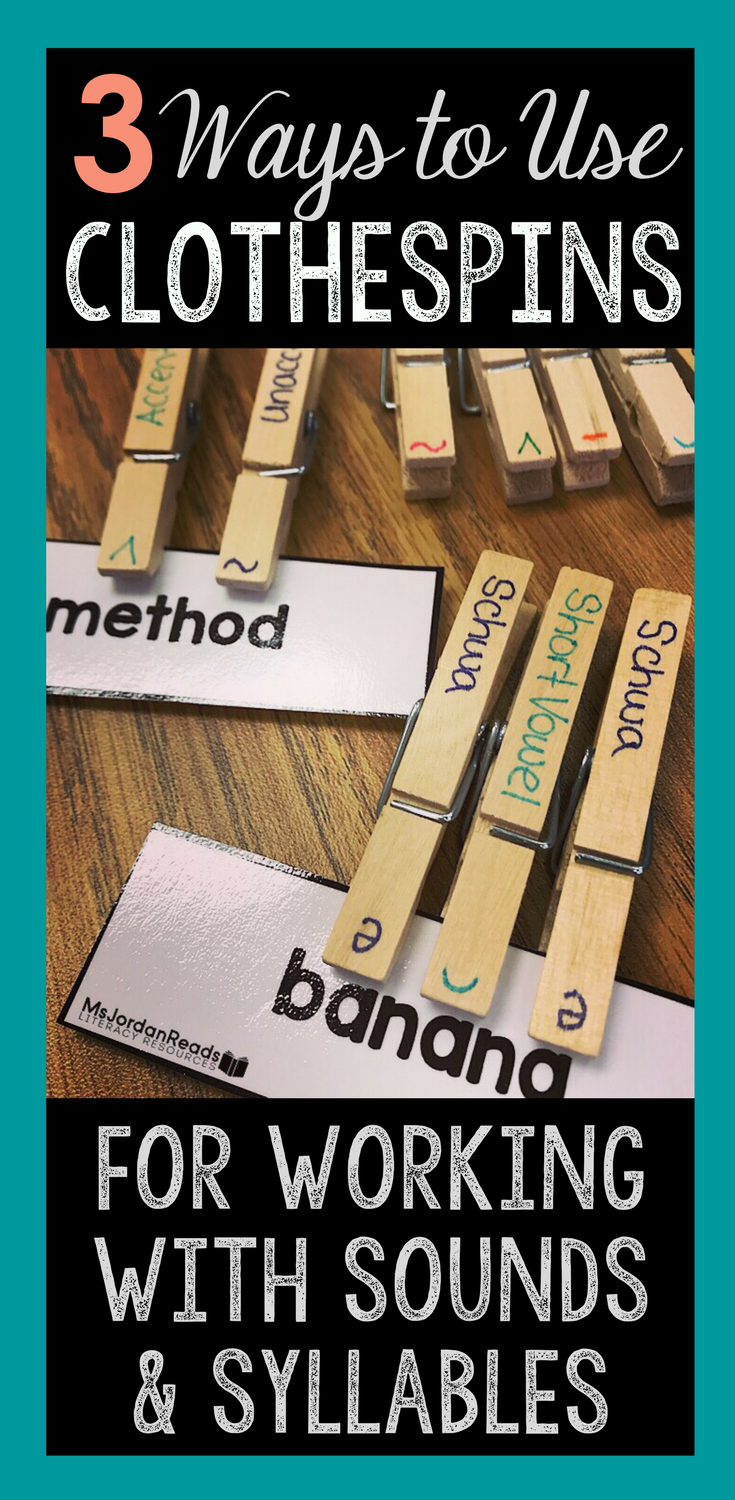 Learn how to use everyday clothespins for working with sounds and syllables with your students in the classroom. The instructional word work activities are easy to implement and perfect for literacy centers, Daily 5, and small group reading. Students will practice identifying, labeling, and coding different syllables and sounds to build reading fluency and automatic word recognition.
